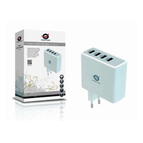 Conceptronic 5V 4xUSB (3x1A y 1x2.4A) a shucko - Adaptador