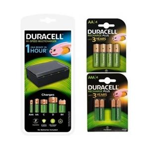 Duracell Pack Cargador + 4 Pilas AA 1300mAh y 4 AAA 750mAh