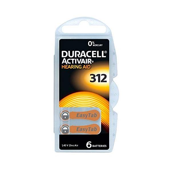 Duracell Pilas Hearing Aid DA312 1.45V 6 unidades