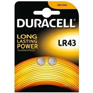 Duracell Pila Botón Alcalina LR43 1,5V 2 unidades