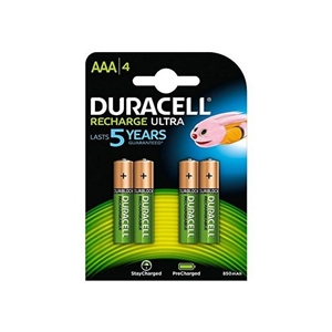 Duracell Pilas Recargables AAA 800mAh 4 unidades