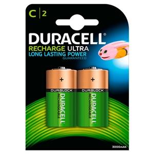 Duracell Pilas Recargables Recharge Ultra C 3000mAh 2 uds.