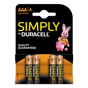 Duracell Pilas Alcalinas Simply AAA LR03 4 unidades
