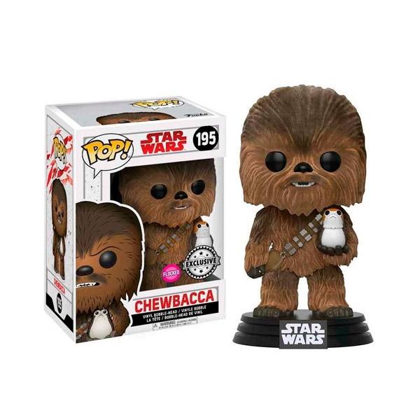 Figura POP Star Wars TLJ Chewbacca with Porg Flocked Exclus.
