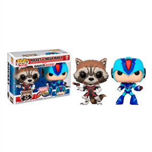 Set figuras POP Marvel Rocket vs MegaMan X