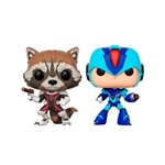 Set figuras POP Marvel Rocket vs MegaMan X