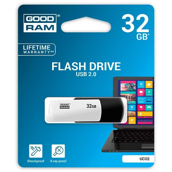 GOODRAM Pendrive 32GB UCO2 USB 2.0 Blanco/Negro - Memoria