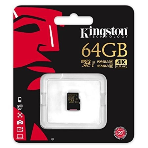 Kingston MicroSD Gold UHS-I U3 64GB – Memoria Flash