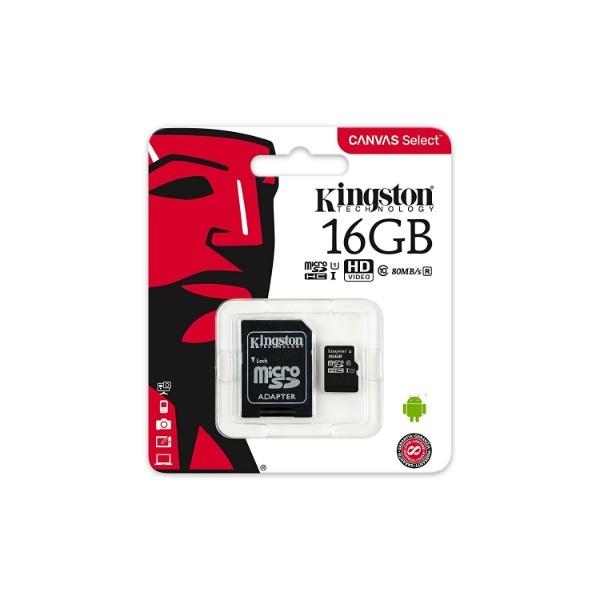 Kingston Canvas Select MicroSD 16GB c/ad – Memoria Flash