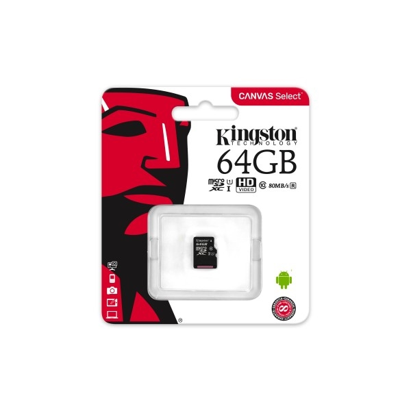 Kingston Canvas Select MicroSD 64GB – Memoria Flash