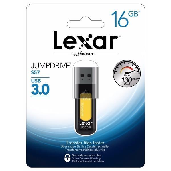 Lexar JumpDrive S57 16GB USB 3.0 130MB/s amarillo – Pendrive