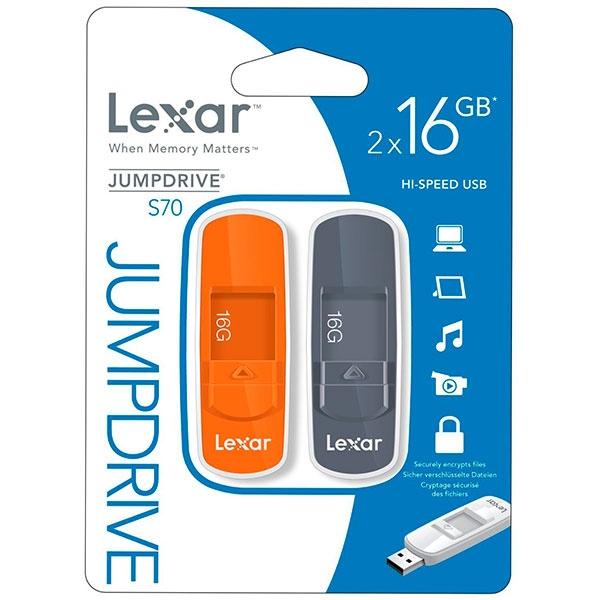 Lexar JumpDrive S70 16GB (2 unidades) USB 2.0 – Pendrive