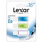 Lexar JumpDrive V20 16GB (3 unidades) USB 2.0 – Pendrive