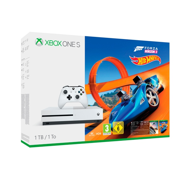 Microsoft Xbox One S 1TB + Forza Horizon 3 + DLC Hot Wheels
