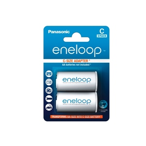 Panasonic Eneloop Adaptador de pilas AA/AAA a C x2