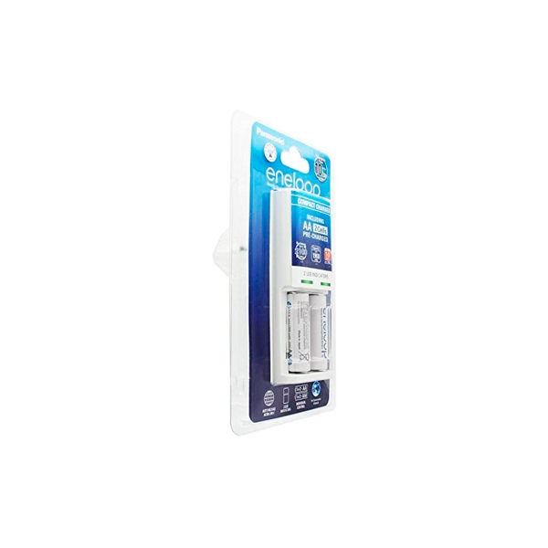 Panasonic Eneloop Cargador Compacto + 2 pilas AA 1900mAh
