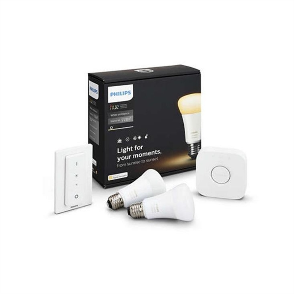 Philips Hue 2xE27 A19 Blanc 9.5W + Puente+Int – Iluminacion