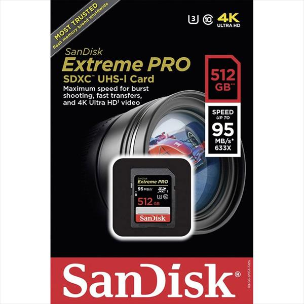 SanDisk Extreme Pro 512GB 95MB/s V30 UHS-I U3 – Tarjeta SD
