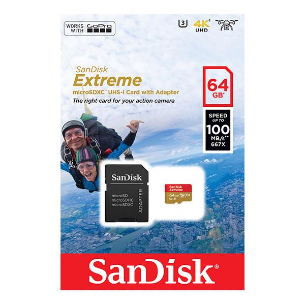 SanDisk Extreme 64GB 100MB/s 60MB/s c/adap – Tarjeta microSD