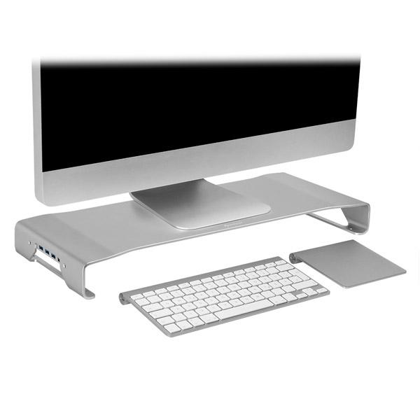 Sharkoon Aluminium Monitor Stand PRO Plata hub - Accesorio