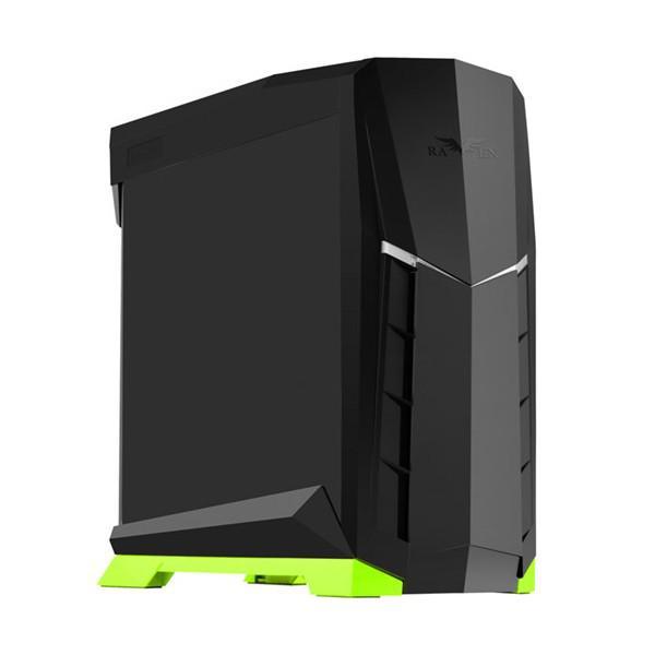 Silverstone Raven RVX01BV-W negra y verde con ventana – Caja