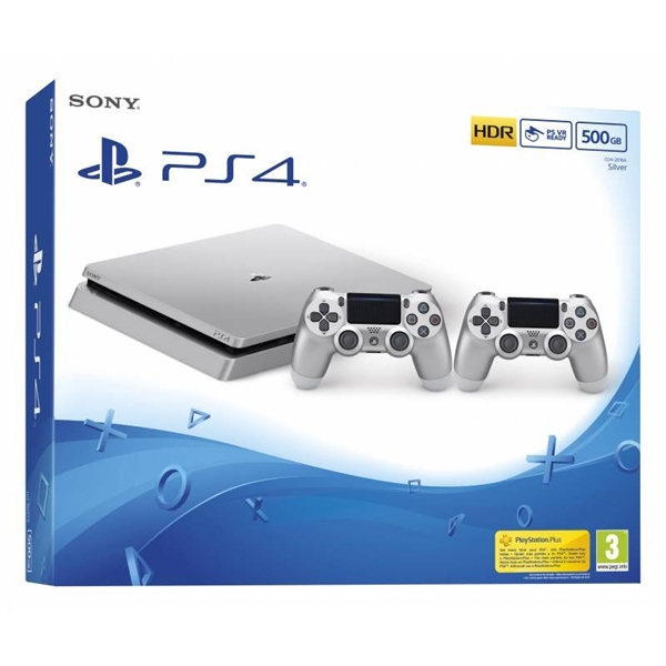 Sony PlayStation 4 Slim Silver 500GB + 2 DualShock – Consola