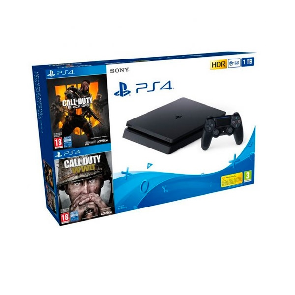 Sony PS4 Slim 1TB + CoD Black Ops IIII + CoD WWII - Consola