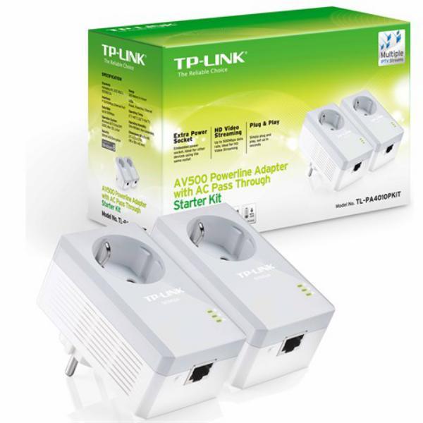 TP-LINK TL-PA4010PKIT AV500+ Powerline Kit with AC Pass Thro
