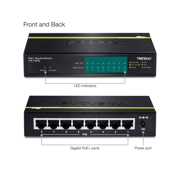 Trendnet TPE-TG80G 8 Puertos PoE+ Gigabit - Switch