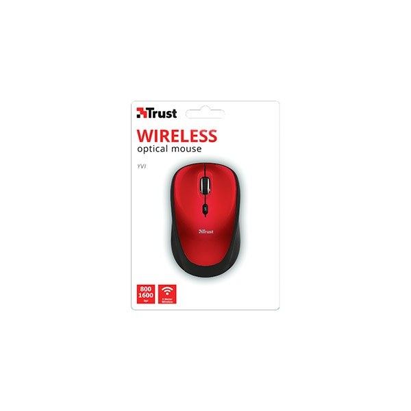 Trust Wireless Mouse Yvi Red - Ratón