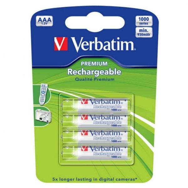 Verbatim 4 pilas recargables Premium AAA 1000mAh – Pilas